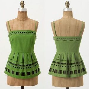 Anthropologie Seaborne Corset Peplum Top Green